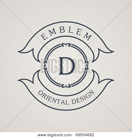 Calligraphic round emblem. Vintage symbol. Vector illustration ribbon with logo letter D