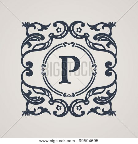 Calligraphic floral emblem. Vector vintage symbol in baroque style