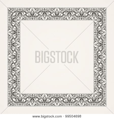 Vintage baroque floral frame. Vector baroque illustration