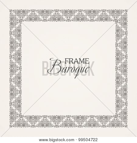 Vintage baroque floral frame. Vector black and white illustration