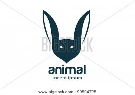 Abstract animal face logo vector template. Rabbit, bat mascot. Rabbit logo. Bat logo. Rabbits, wild animals world, brand symbol, wild icon or farm. Rabbit. Animal face shape. Company logo.