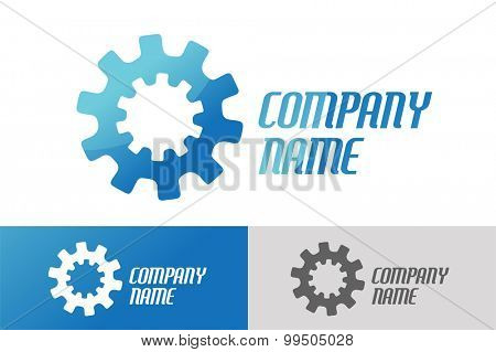 Gear vector logo icon template. Machine, progress, teamwork logo. Technology and techno shapes. Gear symbol. Teamwork vector logo. Teambuilding concept.