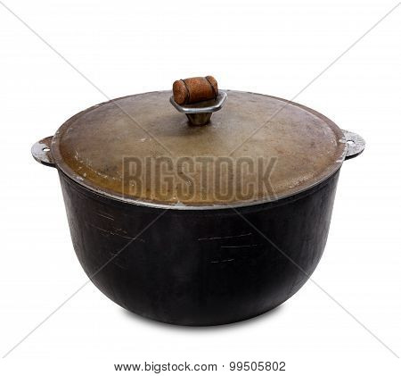 Old Black Pot On White Background