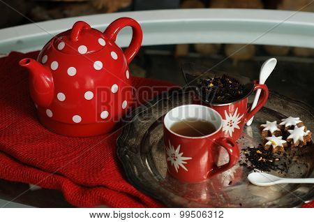 Teapot And Mugs Close Up - Country Home