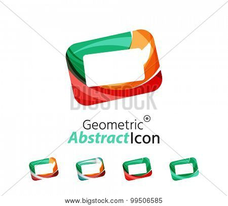 Set of abstract geometric company logo frames, screens.  illustration of universal shape concept made of various wave overlapping elements