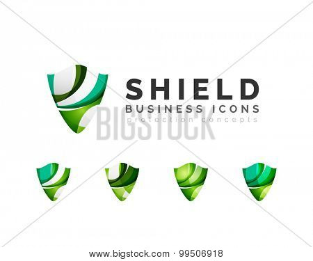 Set of protection shield logo concepts. Color flowing wave design icons on white