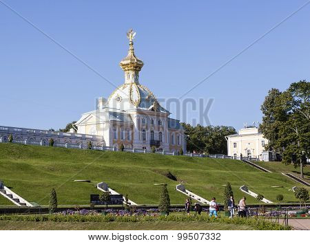 PETERHOF, RUSSIA -  AUGUST 22, 2015: Photo of Stamp Corps of the Grand Palace (