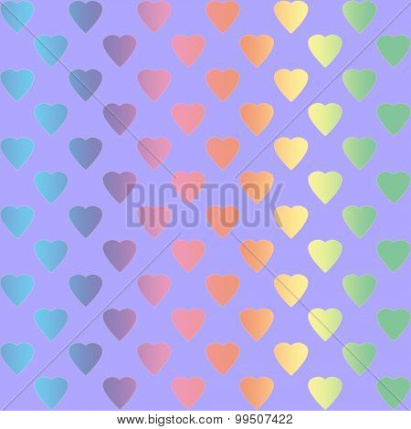 Rainbow colored hearts on violet background