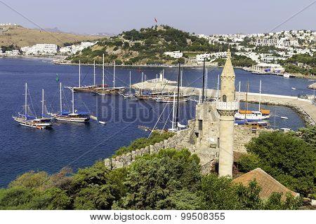 View Of Halikarnas, Bodrum Marina From Bodrum Castle On Turkish Riviera