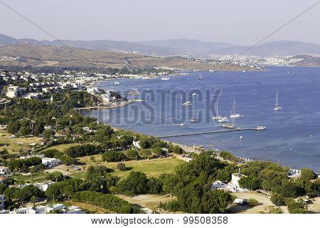 Aerial View Of Ortakent, Yahsi Bay Near Bodrum, Turkey