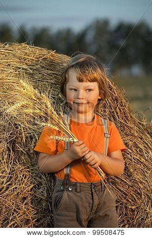 boy with what on haystack in the field in autumn