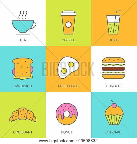 Set Of Vector Flat Food Illustration. Breakfast Multicolor Icons, Tea, Coffee, Juice, Sandwich, Frie