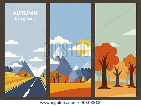 Set Of Vector Autumn Landscape Banner With Place For Text. Flat Illustration Of Road In Golden Wheat