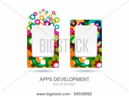 Vector Mobile Or Tablet Pc Icon Built From Colorful Gear Cogs. Abstract Logo Template.