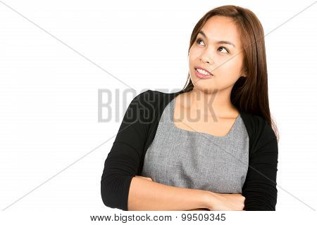 Cheerful Asian Woman Looking Up Copy Space Side H