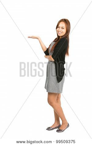 Side Asian Woman Displaying Hand Out Looking At