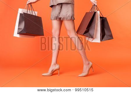 Pretty young styled woman is shopping with joy