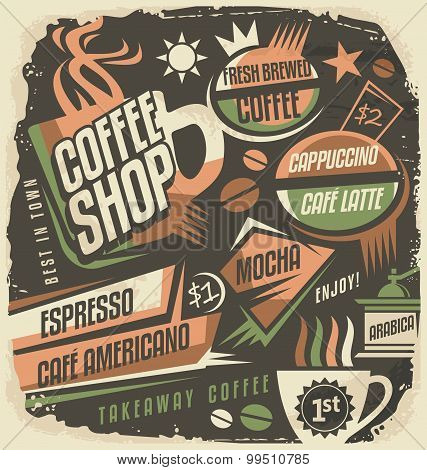 Retro chalk board menu design template for coffee house