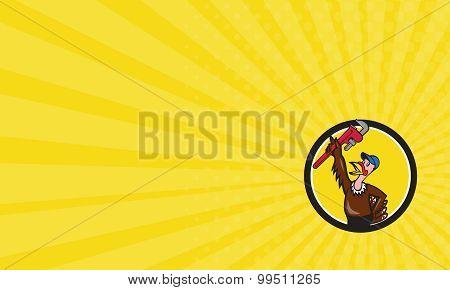 Business Card Turkey Plumber Raising Wrench Circle Cartoon