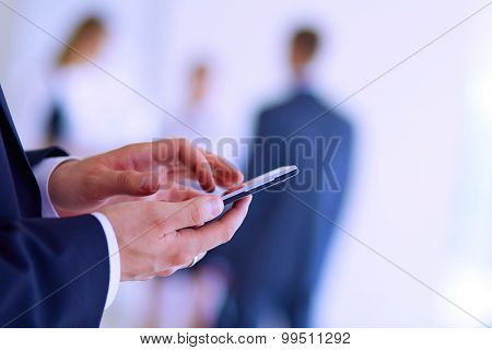 Portrait of young businessman in office with colleagues in the background