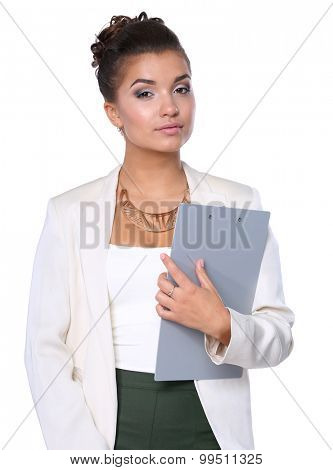 Portrait of a young woman working at office with folder