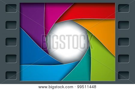 Tile Page with Film Frame and colorful Octagon Diaphragm Blades. Vector photo background with copyspace.