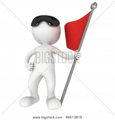 Man With Sunglasses And Red Flag