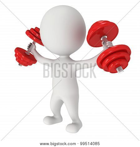 3D Human With Red Dumbbells
