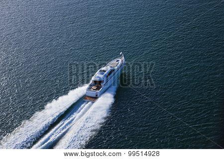 Beautiful Speed Boat Sailing Through The Sea