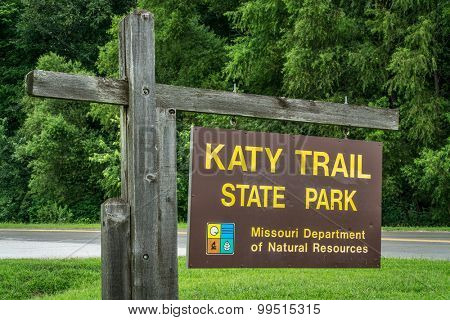 KLONDIKE PARK MO, USA - AUGUST 1 2015: Welcome sign for Katy Trail State Park. The park is the nation's longest rails-to-trails project, 237 mile bike trail, stretching from the Machens to Clinton.
