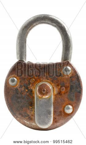 Locked Old Padlock Isolated
