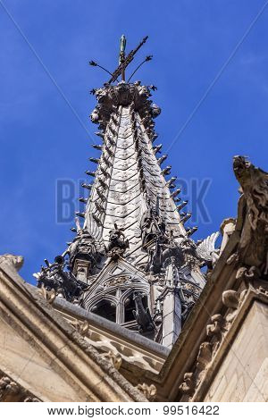Cathedral Spire Statues Gargoyles Sainte Chapelle Paris France