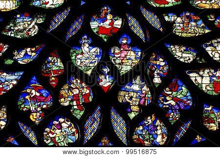 Biblical Medieval Stories Rose Window Stained Glass Sainte Chapelle Paris France