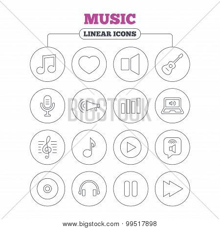 Music icon. Musical note, guitar and microphone.