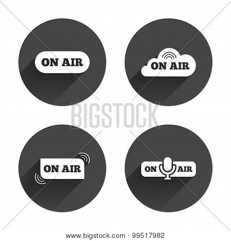 On air icons. Live stream signs. Microphone.