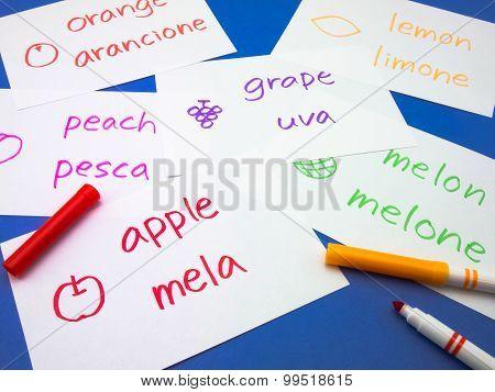 Making Language Flash Cards; Italian