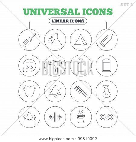 Universal icons. Camping tent, hot coffee drink.