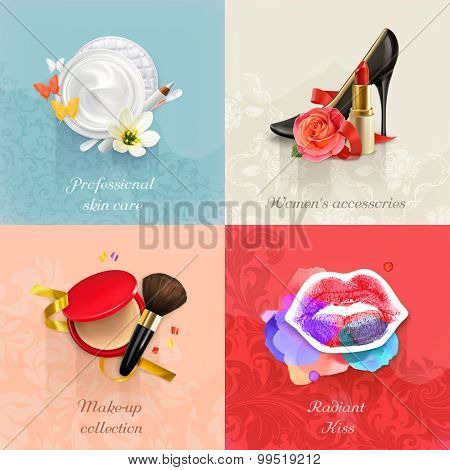 Beauty and cosmetics, set of concepts vector backgrounds