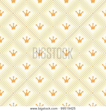Simple seamless  pattern with crown. Orange and yellow col