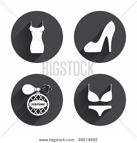 Women dress icon. Sexy shoe sign. Perfume.