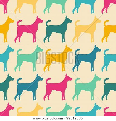 Funny animal seamless  pattern of dog silhouettes