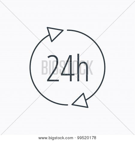24 hours icon. Customer service sign.