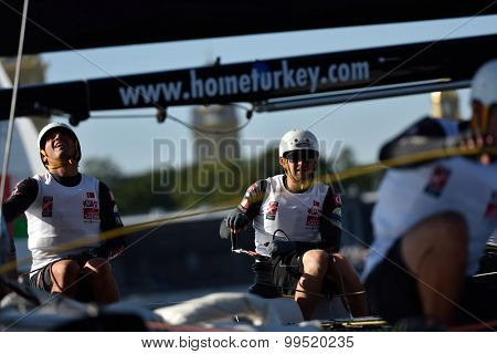 ST. PETERSBURG, RUSSIA - AUGUST 20, 2015: Catamaran of Team Turx of Turkey during the 1st day of St. Petersburg stage of Extreme Sailing Series. Red Bull Sailing Team of Austria won the day