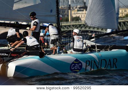 ST. PETERSBURG, RUSSIA - AUGUST 21, 2015: Catamaran of GAC Pindar sailing team of United Kingdom during the 2nd day of St. Petersburg stage of Extreme Sailing Series