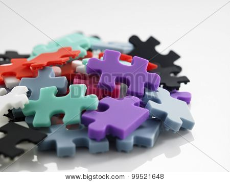 group of the colorful jigsaw puzzle