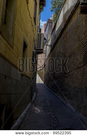 Traditional, streets of the city Toledo, medieval architecture and Castilian