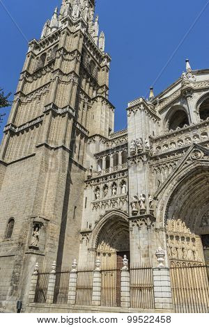 Gothic, majestic facade of the cathedral of Toledo in Spain, beautiful church