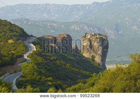 Monastery On Top Of Rock Pillar