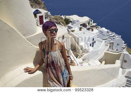 Woman At Oia, Santorini