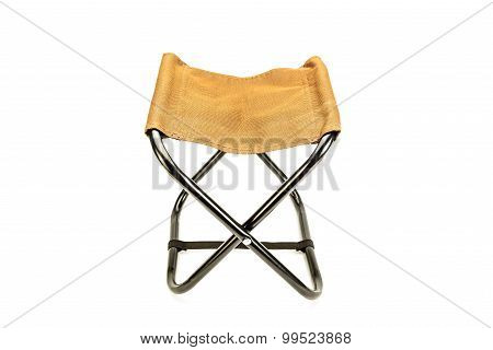 Folding Chair Isolated On White, Portable For Use At Picnics And Camping.